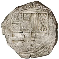 Potosi, Bolivia, cob 8 reales, (1)631T, cross-fleury ornament after date.