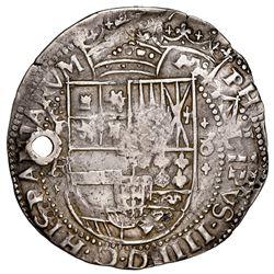 Potosi, Bolivia, cob 8 reales Royal (galano), 1641FR, with Guatemala sun-over-mountains countermark