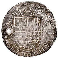 Potosi, Bolivia, cob 8 reales Royal (galano), 1641FR, with Guatemala sun-over-mountains countermark