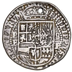 Potosi, Bolivia, cob 8 reales Royal (galano), 1651E, with crowned-dot-F-dot countermark (four dots)