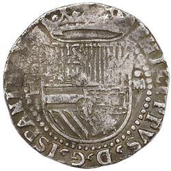 Potosi, Bolivia, cob 4 reales, Philip II, assayer L (1st period) below mintmark P to left, top-right