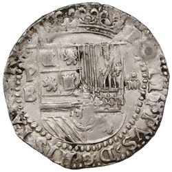 """Potosi, Bolivia, cob 4 reales, Philip II, assayer B/L/B (2nd period), """"Great Module."""""""