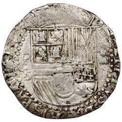 Potosi, Bolivia, cob 4 reales, Philip II, assayer B (3rd period), ex-Jones.