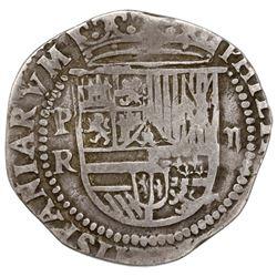 Potosi, Bolivia, cob 2 reales, Philip II, assayer R (Rincon) below mintmark P to left.