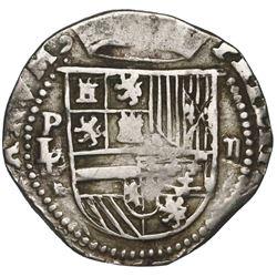Potosi, Bolivia, cob 2 reales, Philip II, assayer L/L/M (1st period), rare.
