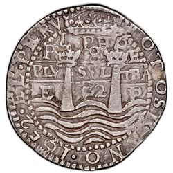 Potosi, Bolivia, cob 8 reales Royal (galano), 1652E post-Transitional (Transitional Type VIII/B), 1-