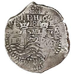 Potosi, Bolivia, cob 8 reales, 1652E post-transitional (Transitional Type VIII/B), 1-PH-6 at top, ex