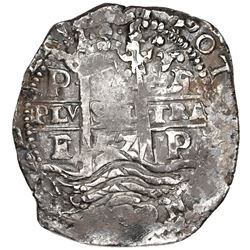 Potosi, Bolivia, cob 8 reales, 1657E, pomegranate above cross.
