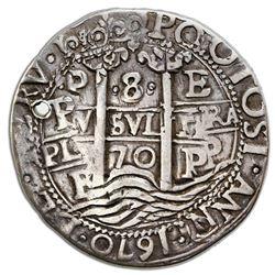 Potosi, Bolivia, cob 8 reales Royal (galano), 1670E, NGC VF details / holed, ex-Jones (Plate Coin).
