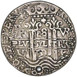 Potosi, Bolivia, cob 8 reales Royal (galano), 1690VR, NGC XF details / holed.