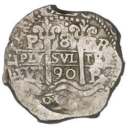 Potosi, Bolivia, cob 8 reales, 1690VR.
