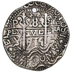 Potosi, Bolivia, cob 8 reales Royal (galano), 1715Y, NGC VF details / holed.