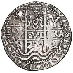 Potosi, Bolivia, cob 8 reales Royal (galano), 1720Y, NGC VF details / holed.