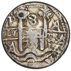 Potosi, Bolivia, cob 8 reales Royal (galano), 1733YA, very rare, NGC VF details / holed, plated.