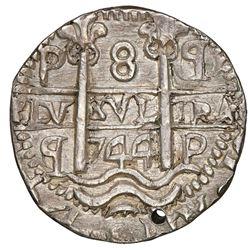 Potosi, Bolivia, cob 8 reales Royal (galano), 1744q/C, unique (unlisted), NGC UNC details / holed.