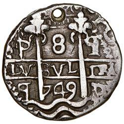 Potosi, Bolivia, cob 8 reales Royal (galano), 1749q, very rare, NGC AU details / holed, ex-Karon, ex