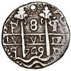 Image 1 : Potosi, Bolivia, cob 8 reales Royal (galano), 1749q, very rare, NGC AU details / holed, ex-Karon, ex