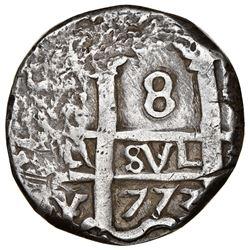 Potosi, Bolivia, cob 8 reales, 1773(V)-Y, rare final date of cobs, NGC XF 40, Sellschopp (2nd ed.) P
