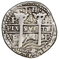 Potosi, Bolivia, cob 4 reales Royal (galano), 1654E, dot-PH-dot at top, extremely rare, NGC XF detai
