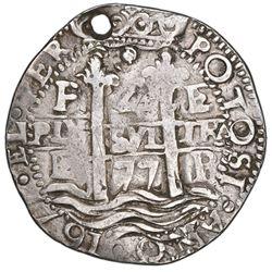 Potosi, Bolivia, cob 4 reales Royal (galano), 1677E, extremely rare, NGC VF details / holed, ex-Amer