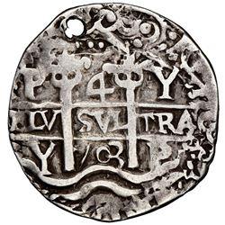 Potosi, Bolivia, cob 4 reales Royal (galano), 1703Y, very rare, NGC VF details / holed.