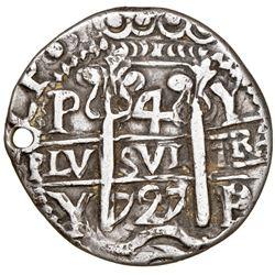 Potosi, Bolivia, cob 4 reales Royal (galano), 1727/6Y, Louis I, extremely rare, NGC XF details / hol