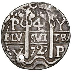Potosi, Bolivia, cob 4 reales Royal (galano), 1727Y, Louis I, extremely rare (unlisted), NGC XF deta