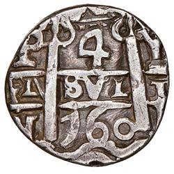 Potosi, Bolivia, cob 4 reales Royal (galano), 1760Y-V-Y, extremely rare (unlisted), NGC VF details /