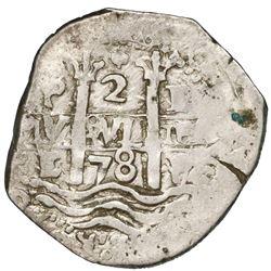 Potosi, Bolivia, cob 2 reales, 1678E, ex-Jones.