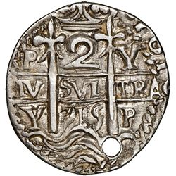 Potosi, Bolivia, cob 2 reales Royal (galano), 1715Y, very rare, NGC AU details / holed.