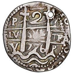 Potosi, Bolivia, cob 2 reales Royal (galano), 1726Y, Louis I, extremely rare, NGC VF details / holed