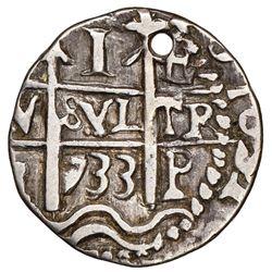 Potosi, Bolivia, cob 1 real Royal (galano), 1733E, retrograde E to right of cross, extremely rare, N