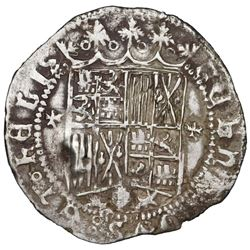 Panama(?), P countermark on a Granada, Spain, 1 real, Ferdinand-Isabel, cross-like ornaments flankin