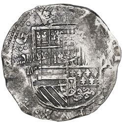 Bogota, Colombia, cob 8 reales, Philip IV, assayer A to right, mintmark RN to left, no pomegranate (