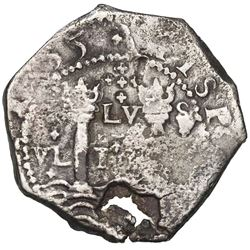 Cartagena, Colombia, cob 8 reales, (16)55, assayer S below mintmark C to right, extremely rare, ex-J