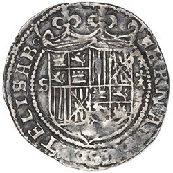 Seville, Spain (special issue struck for New World use), 1 real, Ferdinand-Isabel, mintmark S to lef