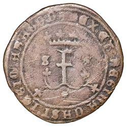 Seville, Spain (special issue struck for New World use), copper 4 maravedis, Ferdinand-Isabel, trefo
