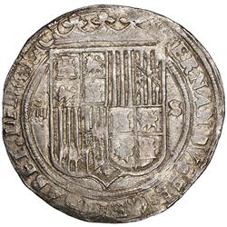 Seville, Spain, 8 reales, Ferdinand-Isabel, assayer Gothic D between yoke and arrows, mintmark to ri