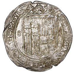 Seville, Spain, 4 reales, Ferdinand-Isabel, assayer * twice on reverse, legends ending in DEI GR and