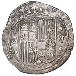 Granada, Spain, 2 reales, Ferdinand-Isabel, assayer R to right of trefoil at bottom on reverse, mint