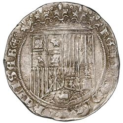 Burgos, Spain, 1 real, Ferdinand-Isabel, mintmark B below yoke and arrows, assayer ermine/scallop at