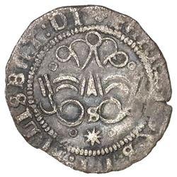 Seville, Spain, 1/4 real, Ferdinand-Isabel, assayer o-*-o below mintmark S below yoke, legends endin