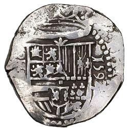 Toledo, Spain, cob 2 reales, 1592 date to right, assayer C below mintmark oT to left.