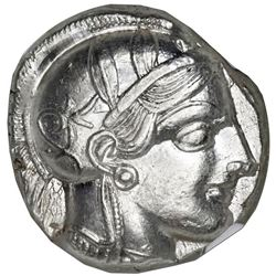"Attica, Athens, AR tetradrachm ""owl,"" ca. 440-404 BC, NGC Choice AU, strike 5/5, surface 4/5."