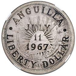 Anguilla (provisional government), 1 liberty dollar, incuse countermark ANGUILLA / LIBERTY DOLLAR ar