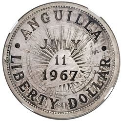 Anguilla (provisional government), 1 liberty dollar, incuse countermark ANGUILLA / LIBERTY DOLLAR ar