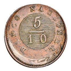 Buenos Aires, Argentina, copper 5/10 real, 1827, struck more than 15% off-center on an 1822 1 decimo