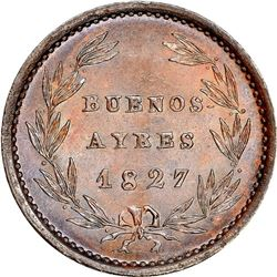 Buenos Aires, Argentina, copper 1/4 real, 1827, NGC MS 64 BN, finest known in NGC census, ex-O'Brien