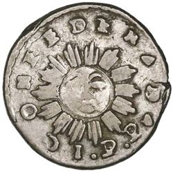 Cordoba, Argentina, 1 real, 1843JPP, arms with no shading and dots flanking cap with top to right.