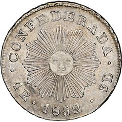 Cordoba, Argentina, 4 reales, 1852, Rioja-style rays around sun, NGC AU 58, ex-O'Brien.